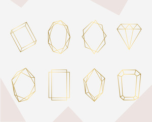 Luxury gold geometric frame collection. Design for wedding card, invitations, logo, book cover and poster