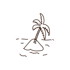 Palmtree illustration. Vector hand drawn doodle of a tropical palm tree in the sand. Island beach icon with a exotic tree.