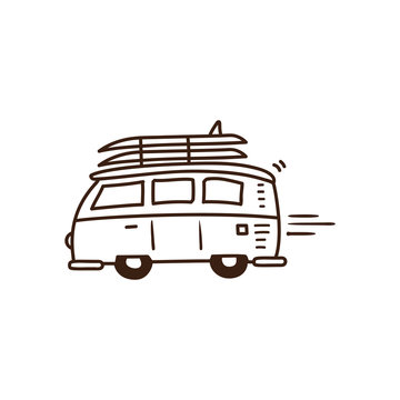 Surf van driving to the beach with surfboards on. Vector summer holidays doodle illustration. Hand drawn icon.