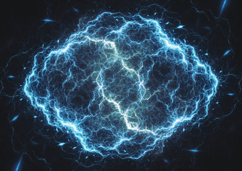 Blue lightning, abstract electrical background, power and energy concept