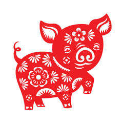 Red paper cut cute china pig zodiac art vector design