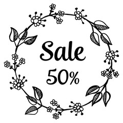 sale background with hand drawing flowers vector illustration