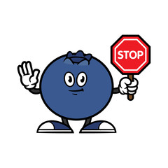 Cartoon Blueberry Character Holding Stop Sign