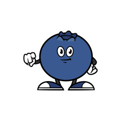 Cartoon Blueberry Character Pointing