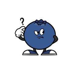 Cartoon Confused Blueberry Character