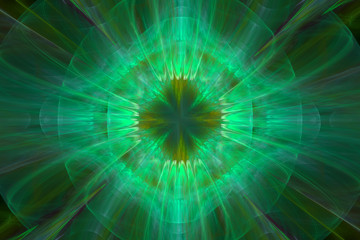 Abstract fractal green surreal space background. Compuper generated graphic