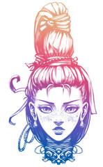 Cute girl with a big braid