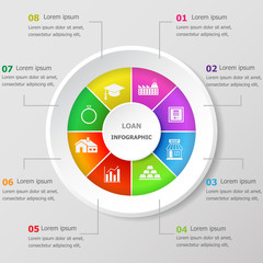 Infographic design template with loan icons