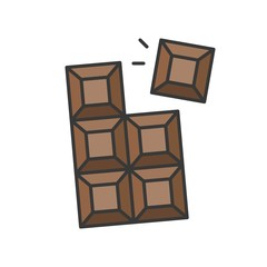 chocolate bar, sweets and pastry set, filled outline icon