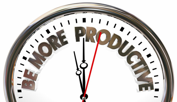 Be More Productive Improve Workflow Productivity Clock 3d Illustration