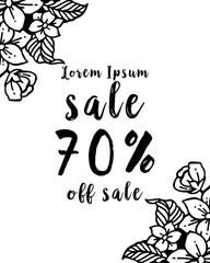 background with hand drawn sale floral vector illustration