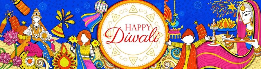 Kid celebrating happy Diwali Holiday doodle background for light festival of India