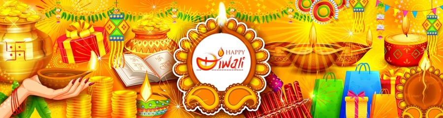 Wall Mural - Burning diya on Happy Diwali Holiday background for light festival of India