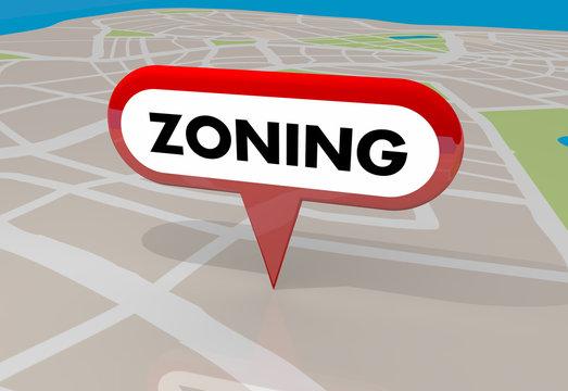 Zoning Ordinance Building Zones Map Pin 3d Illustration