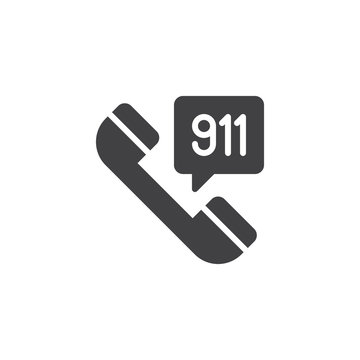 Emergency call vector icon. filled flat sign for mobile concept and web design. 911 telephone simple solid icon. Symbol, logo illustration. Pixel perfect vector graphics