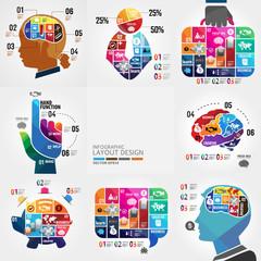 jigsaw infographics background set