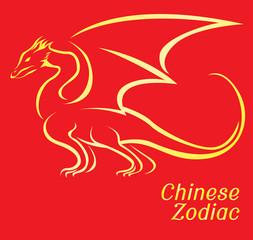 Chinese Zodiac Set Dragon Vector Illustration