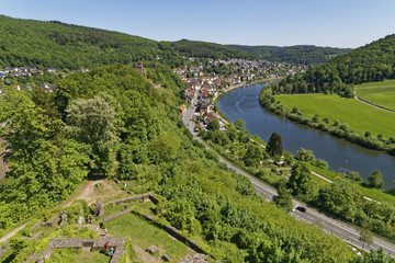 beautiful river Neckar in Neckarsteinach and Dilsberg