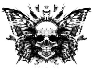 Papiers peints Papillons dans Grunge Demon skull with butterfly wings behind