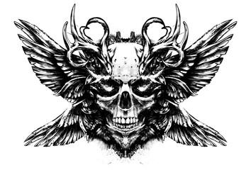 Demon skull with sparkling eyes