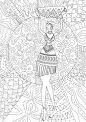 fashion african woman for your coloring book