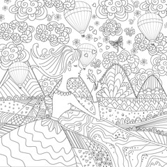 romantic girl in fancy landscape for your coloring book