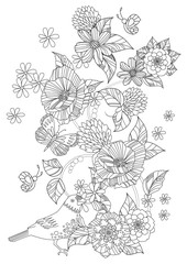 fancy floral pattern with bird and butterflies for your coloring