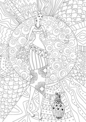 fashion african girl for your coloring book