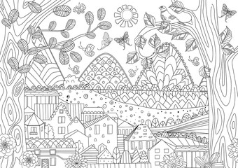 cozy rustic landscape for your coloring book