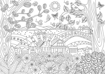 summer rustic landscape for your coloring book