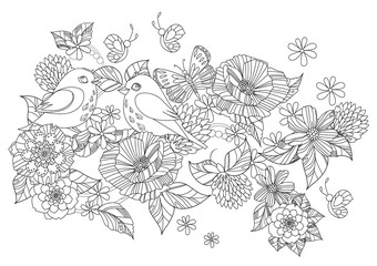 couple of enamored birds in fancy flowers for your coloring page