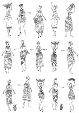vintage collection of fashion african women for your coloring bo