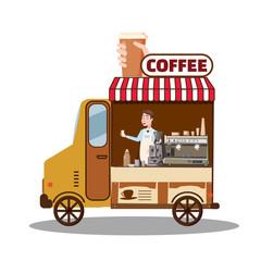 Street food truck, van. Fast food delivery. Coffee van, shop, barista, Cartoon design vector illustration, isolated