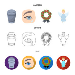 The urn with the ashes of the deceased, the tears of sorrow for the deceased at the funeral, the mourning wreath, the angel of death. Funeral ceremony set collection icons in cartoon,outline,flat