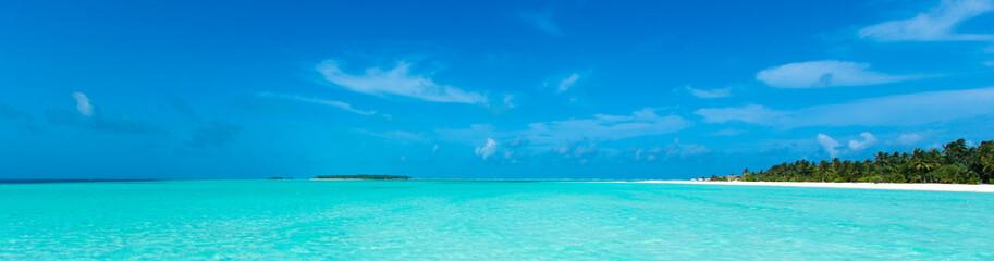 Aluminium Prints Beach tropical beach in Maldives with blue lagoon