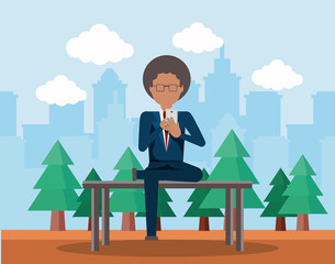 businessman using a cellphone sitting on a bench in the park over yellow background, colorful design. vector illustration