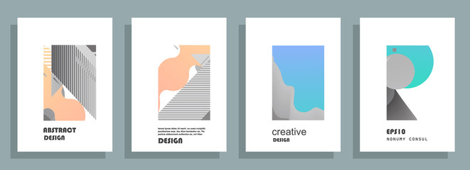 Covers templates set with graphic geometric elements. Applicable for brochures, posters, covers and banners. Vector illustrations.