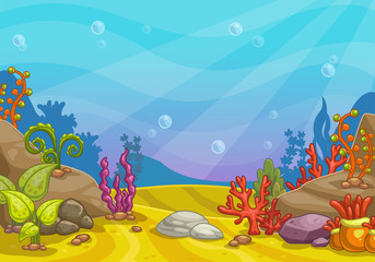 Poster Turquoise Cartoon underwater background.