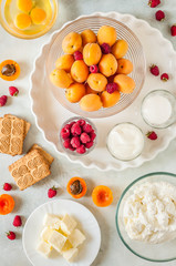 Apricot and Raspberry Cheesecake Ingredients