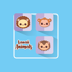 Kawaii animals over blue background, colorful design. vector illustration