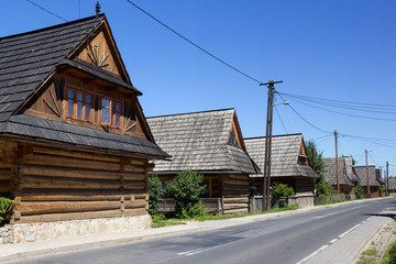 Village of traditional wooden cottage, Chocholow, Tatra Mountains Poland