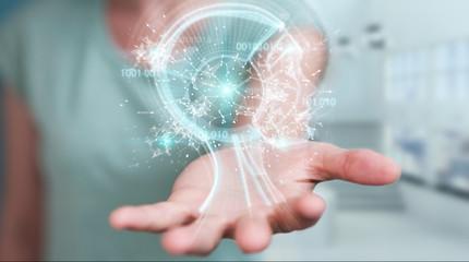 Businesswoman using digital artificial intelligence interface 3D rendering