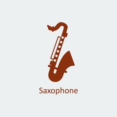 Colored Saxophone icon. Silhouette vector icon