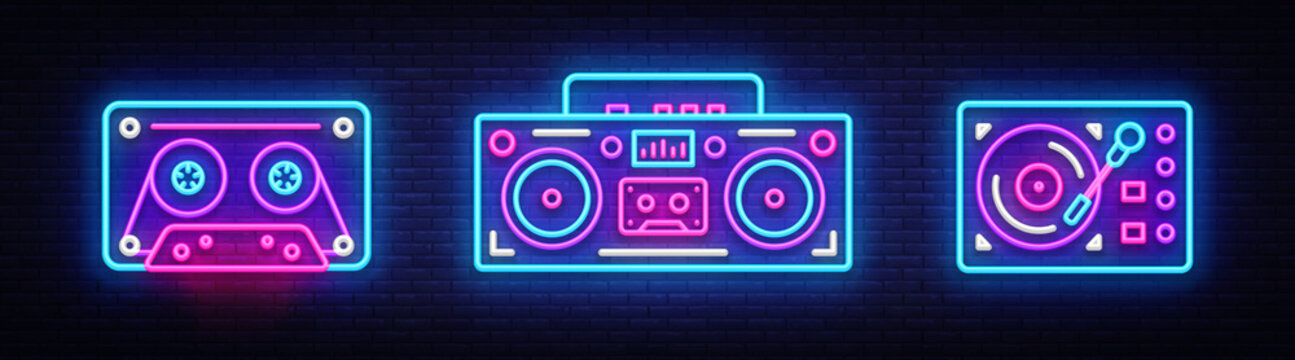 Big collection neon sing. Retro Music neon symbols design elements. Back to 80-90s light banner, modern trend design style. Bright signboard, night advertising. Vector illustration