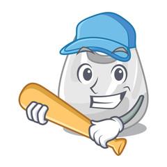 Playing baseball plastic bag character cartoon