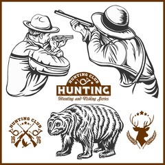 Hunters and bear - vector isolated illustration plus hunters club logo