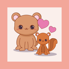 Spoed Fotobehang Sprookjeswereld kawaii bear and squirrel with hearts over white background, colorful design. vector illustration