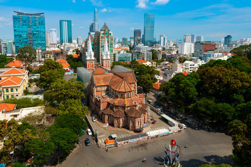 Notre Dame de Saigon Cathedral at Ho Chi Minh in Vietnam.