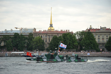 preparation for the naval parade in St. Petersburg on the Neva river