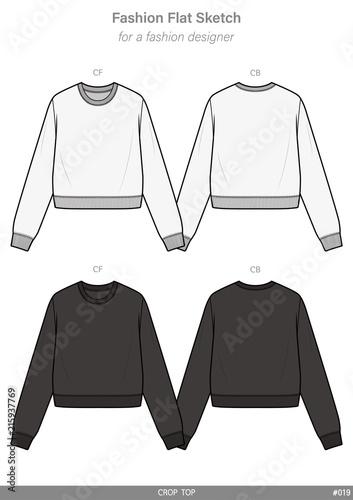 dec2bc6cf73bdc CROP TOP Tee fashion flat technical drawing template
